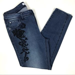 Kensie Jeans Floral Embroidered Mid-Rise Size 10